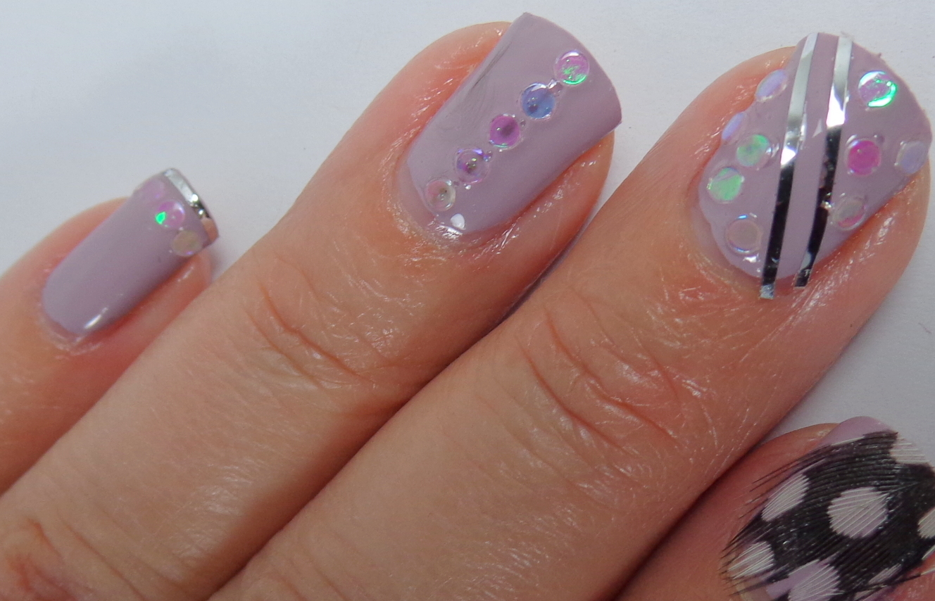 Sequins And Feather Nail Art With My Nail Art Society Supplies My