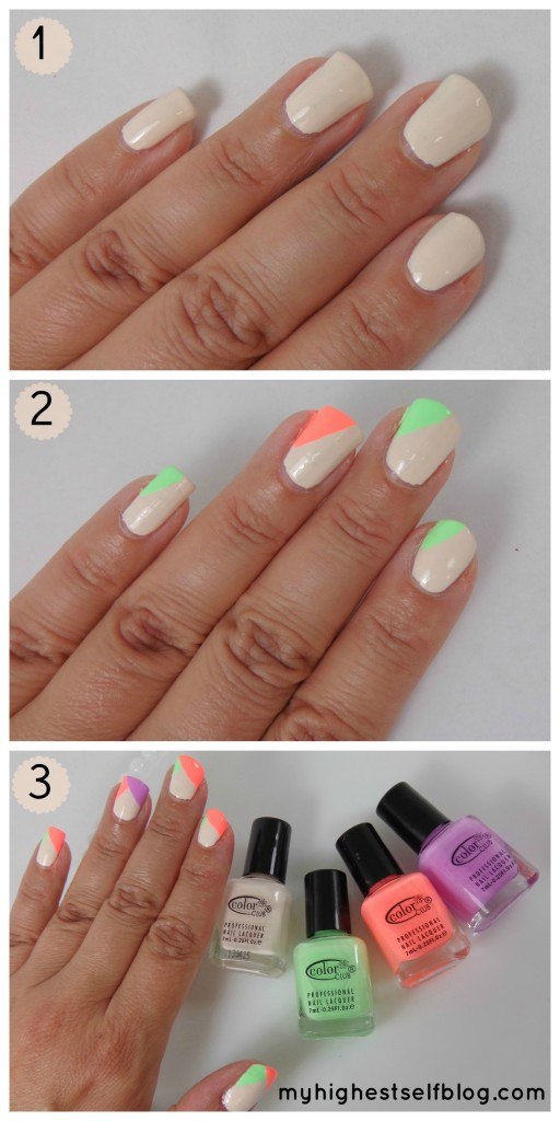 neon pastel nail polish tutorial