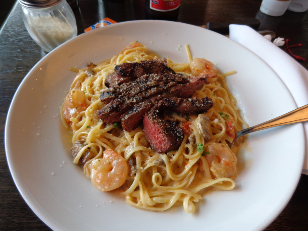 Bistro Steak and Shrimp with Lobster Alfredo