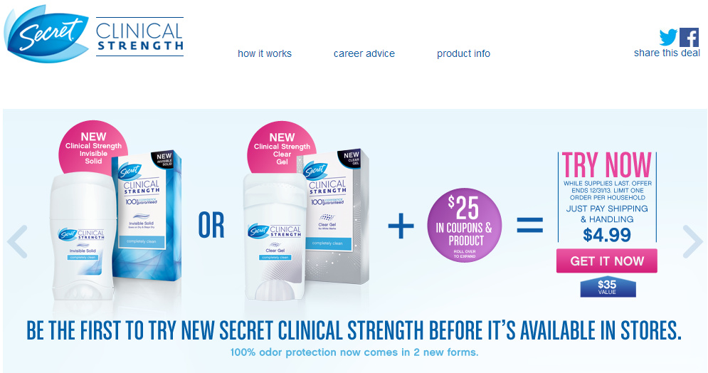 NEW Secret Clinical Strength Invisible Solid or Clear Gel for $4.99 PLUS $25 in Coupons