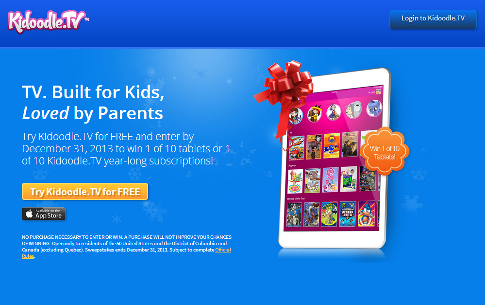 FREE Trial of Kidoodle.TV – Made for Kids 12 and Under