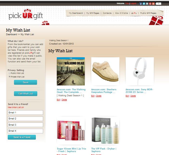use pickURgift wish list