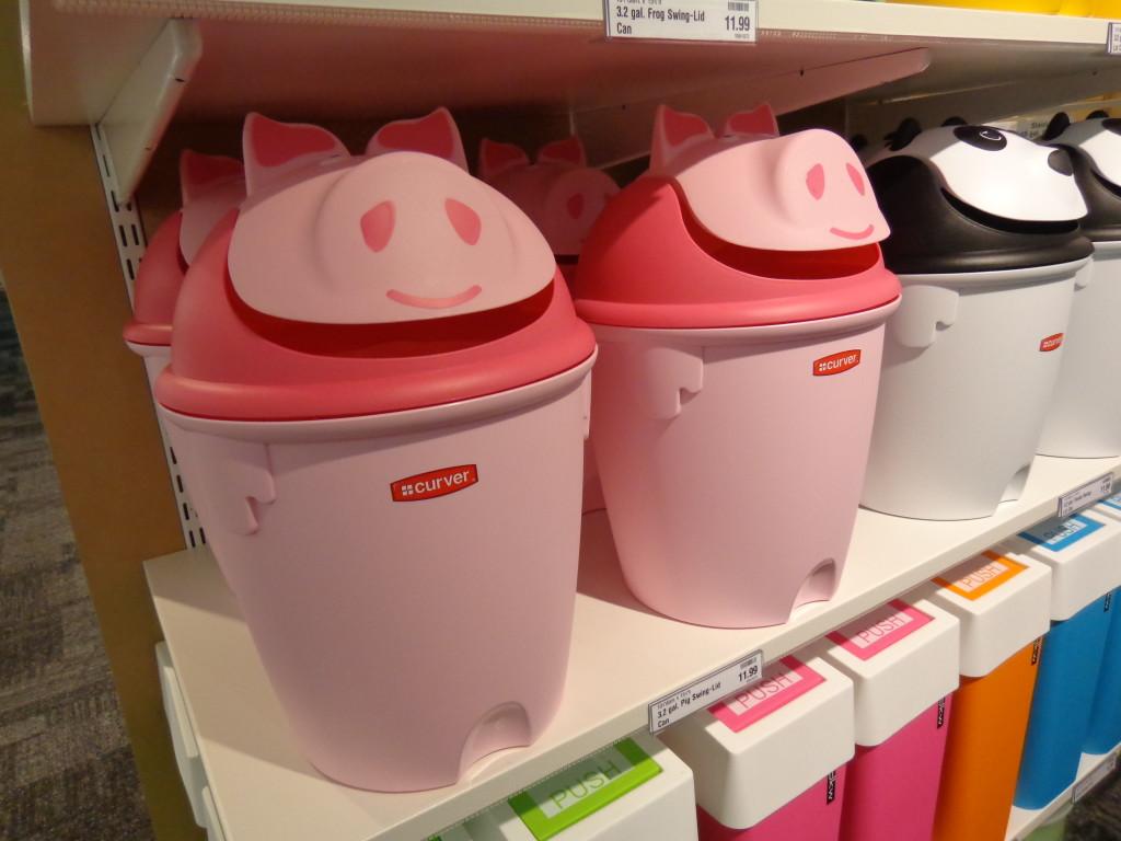 Pink Pig Trash Can